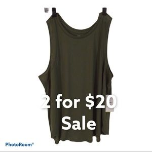 Old Navy Tank Active Go-Dry Size 2X Army Green